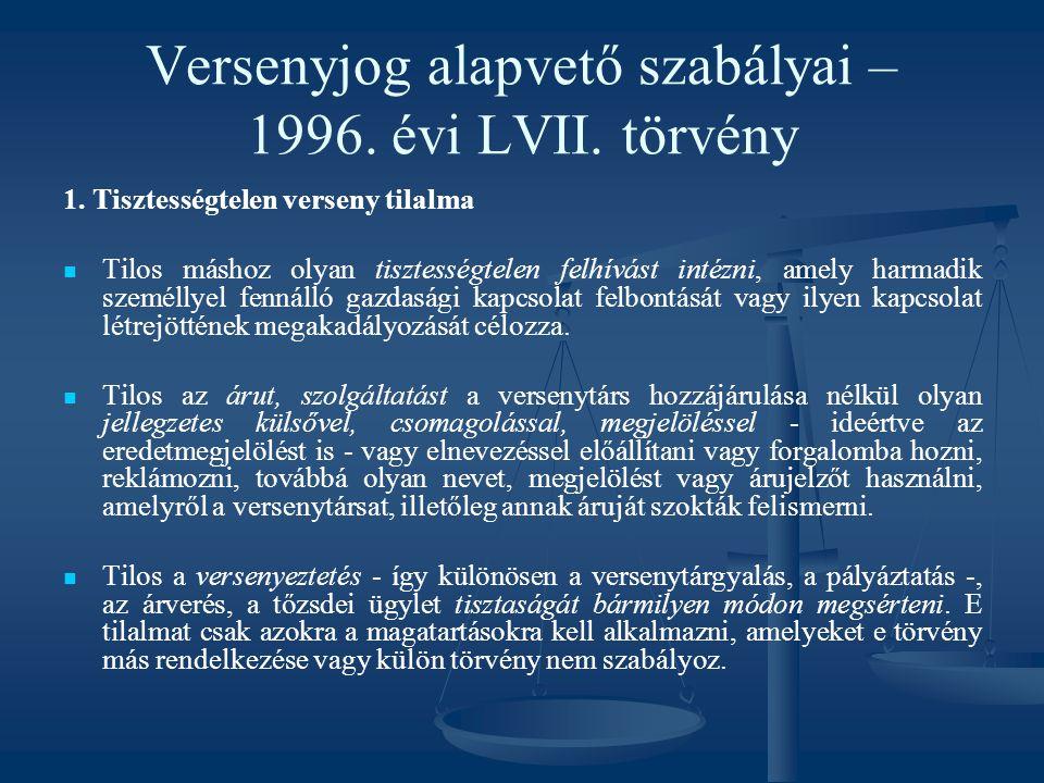 Versenyjog alapvető szabályai – 1996. évi LVII. törvény