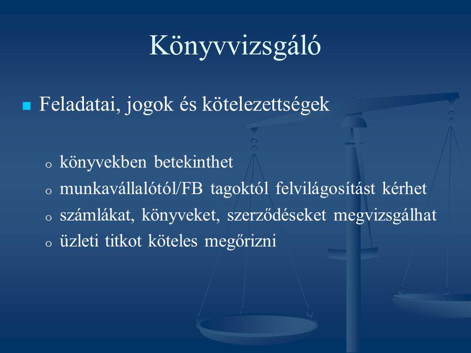 Könyvvizsgáló Feladatai, jogok és kötelezettségek