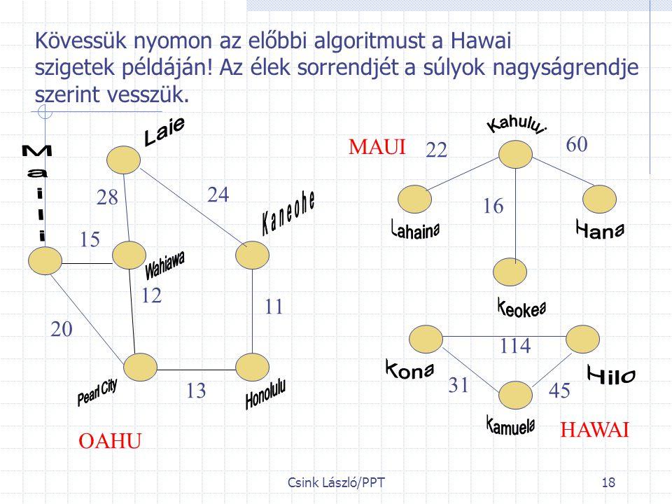 Kövessük nyomon az előbbi algoritmust a Hawai