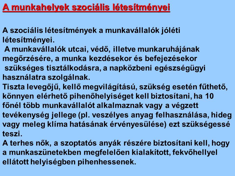 A munkahelyek szociális létesítményei