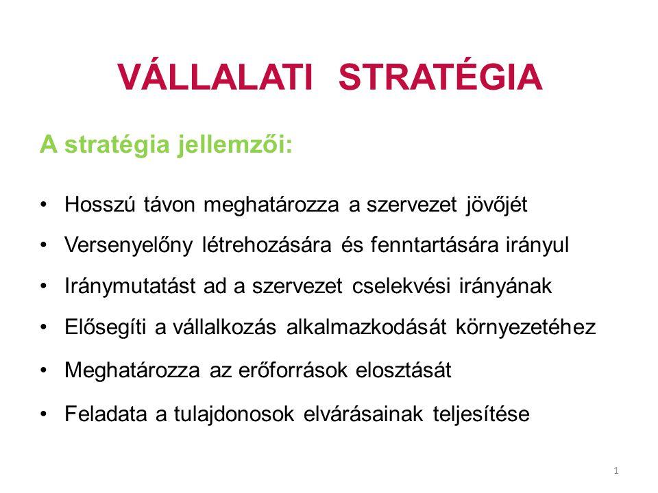 VÁLLALATI STRATÉGIA A stratégia jellemzői: