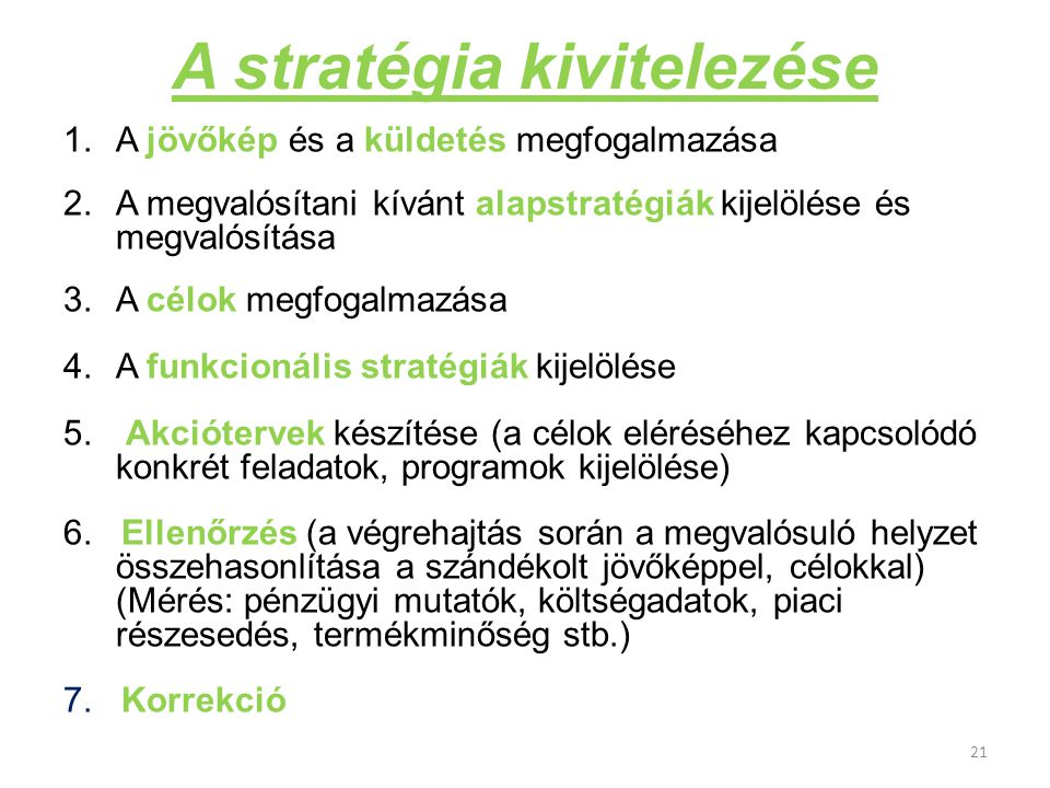 A stratégia kivitelezése