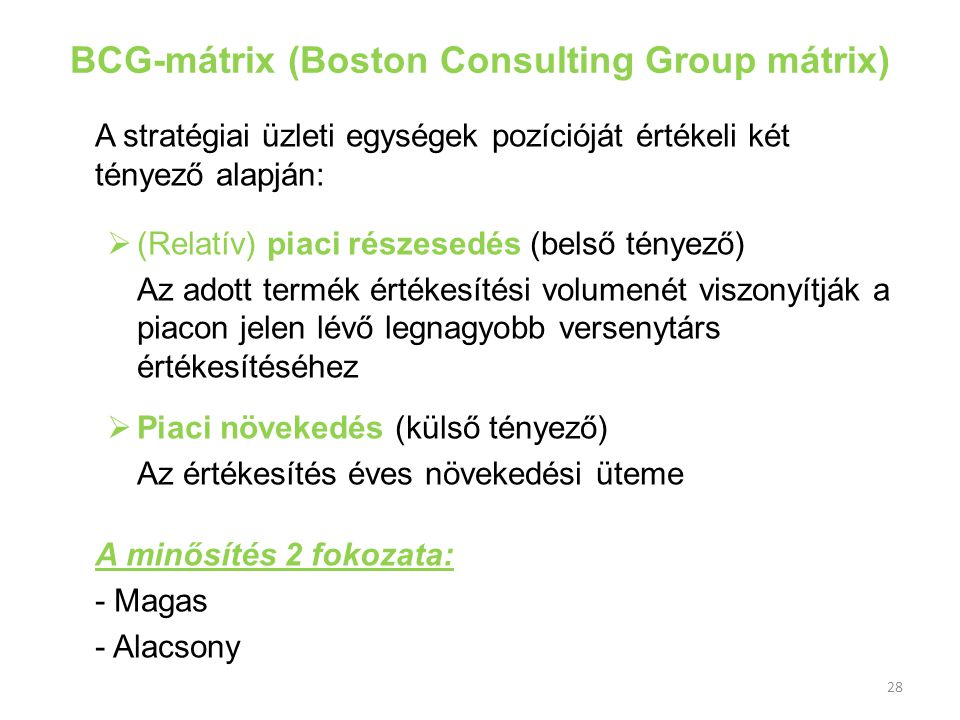 BCG-mátrix (Boston Consulting Group mátrix)