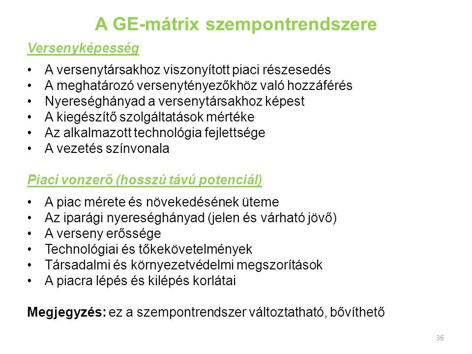 A GE-mátrix szempontrendszere
