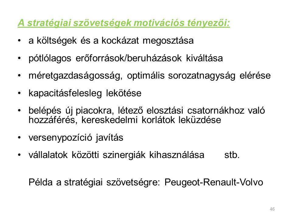 A stratégiai szövetségek motivációs tényezői: