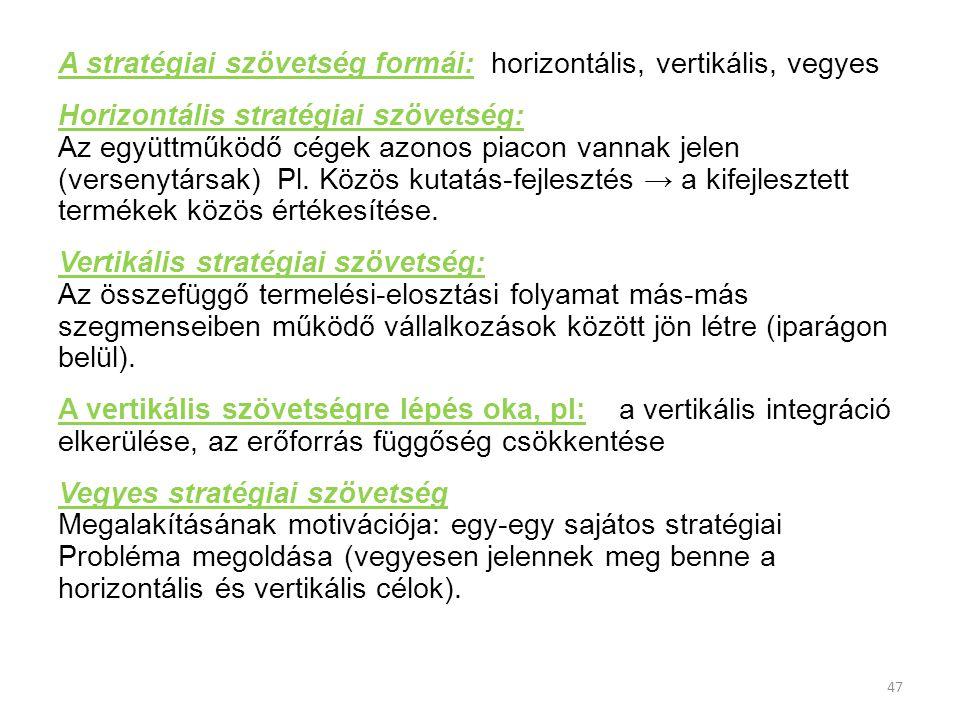 A stratégiai szövetség formái: horizontális, vertikális, vegyes
