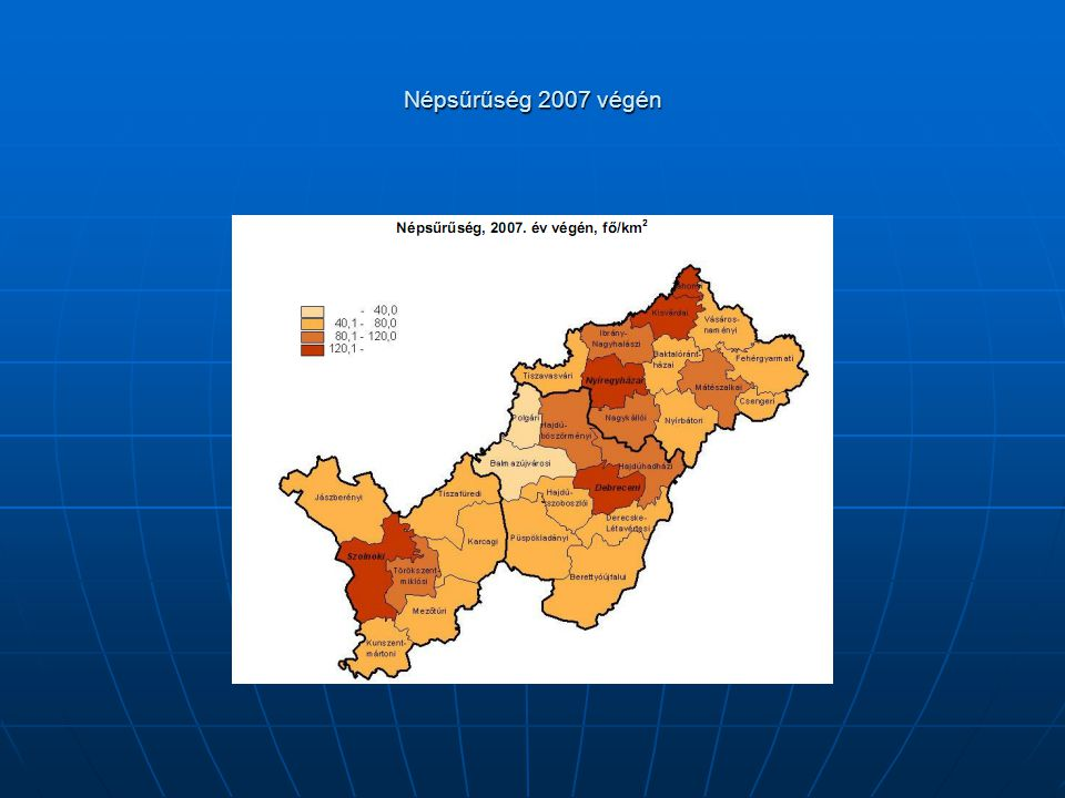 Népsűrűség 2007 végén