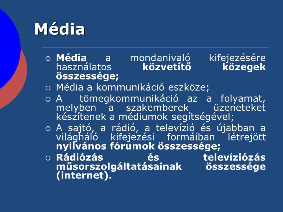 Média Média a mondanivaló kifejezésére használatos közvetítő közegek összessége; Média a kommunikáció eszköze;