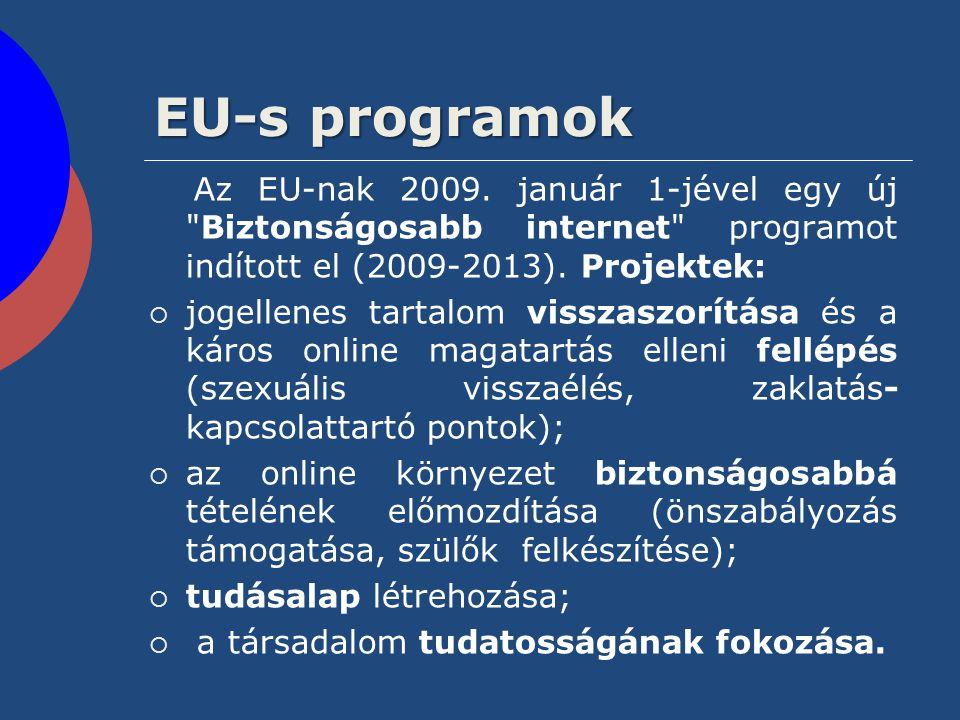 EU-s programok Az EU-nak 2009. január 1-jével egy új Biztonságosabb internet programot indított el (2009-2013). Projektek: