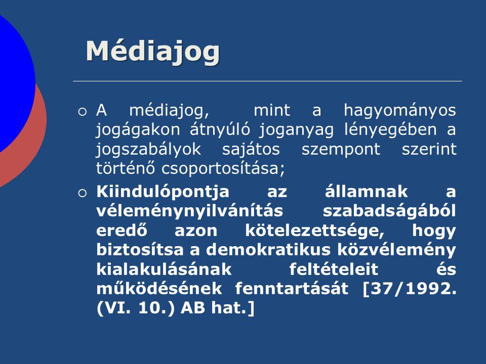 Médiajog A médiajog, mint a hagyományos jogágakon átnyúló joganyag lényegében a jogszabályok sajátos szempont szerint történő csoportosítása;
