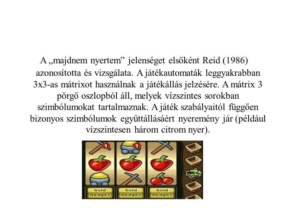 """A """"majdnem nyertem jelenséget elsőként Reid (1986) azonosította és vizsgálata."""