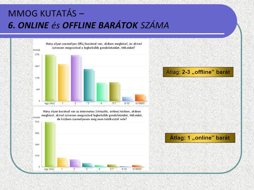 MMOG KUTATÁS – 6. ONLINE és OFFLINE BARÁTOK SZÁMA