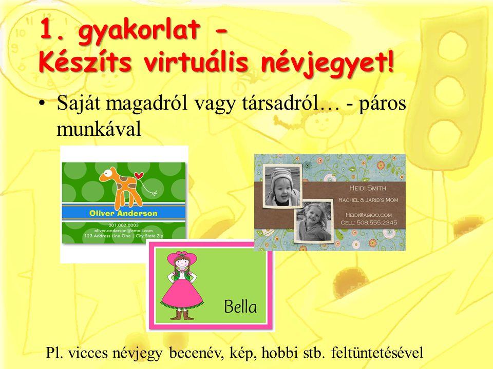 1. gyakorlat - Készíts virtuális névjegyet!