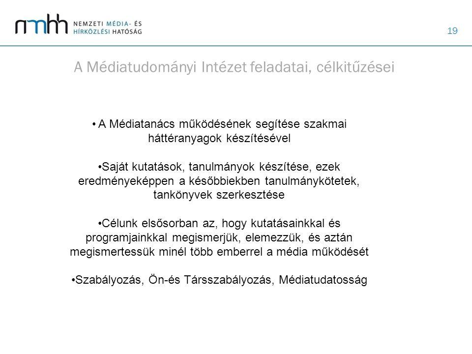A Médiatudományi Intézet feladatai, célkitűzései