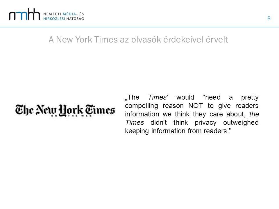 A New York Times az olvasók érdekeivel érvelt