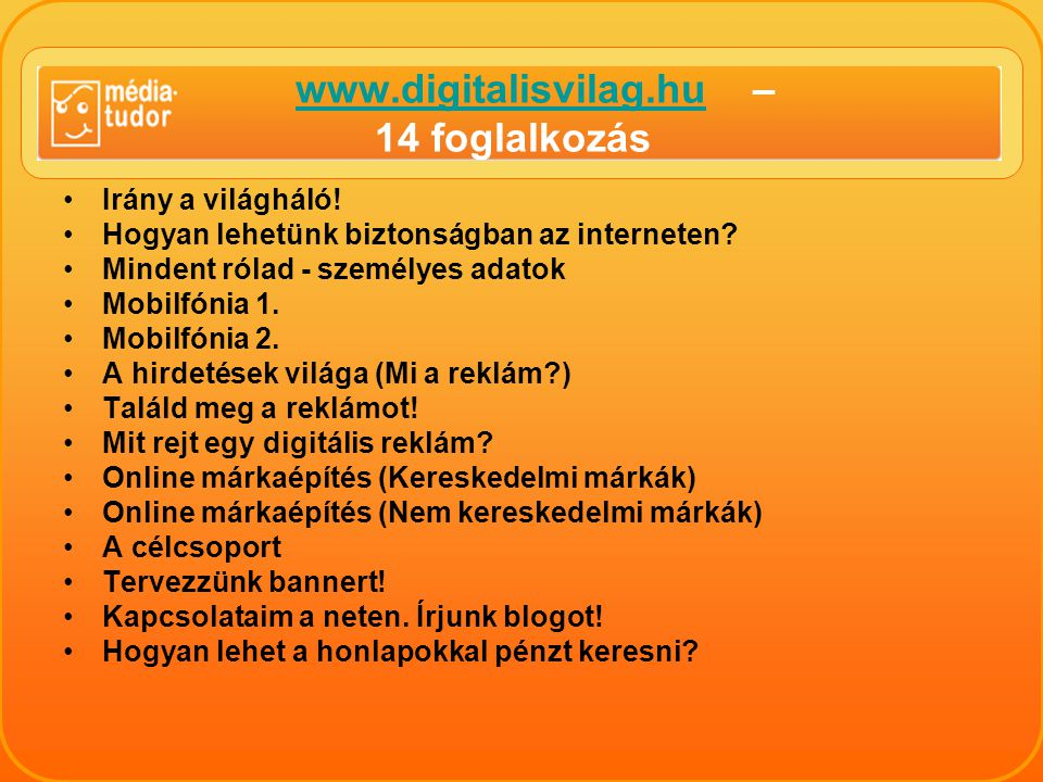 www.digitalisvilag.hu – 14 foglalkozás