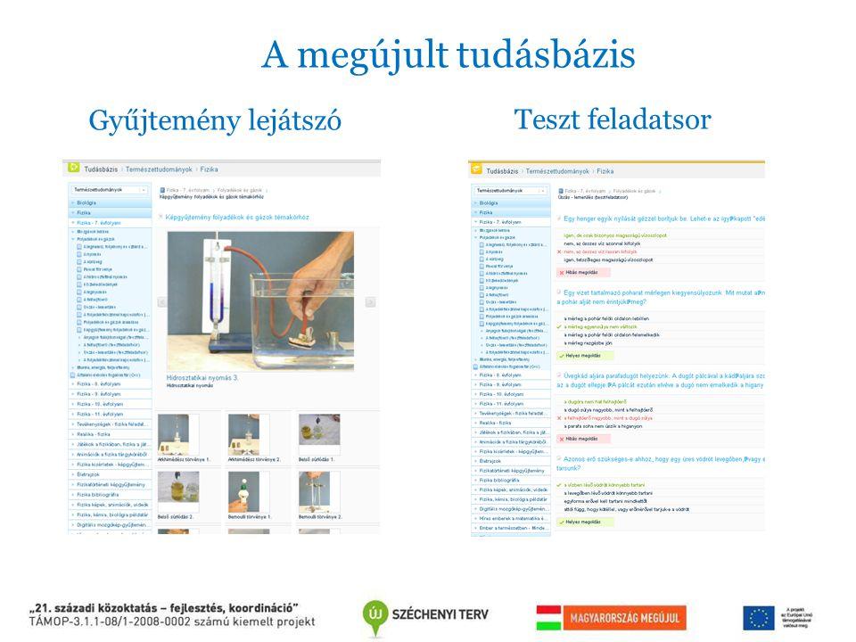 A megújult tudásbázis Gyűjtemény lejátszó Teszt feladatsor
