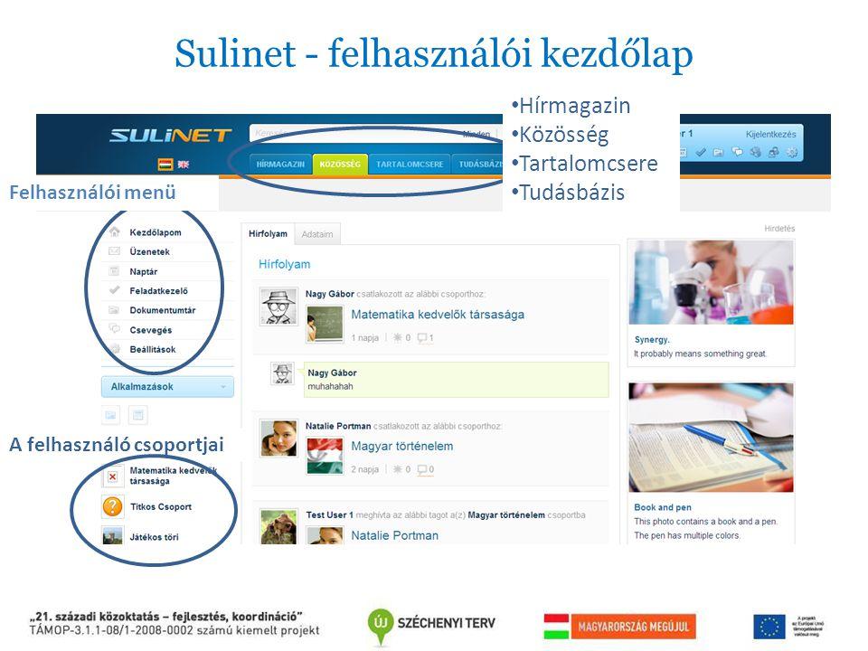 Sulinet - felhasználói kezdőlap