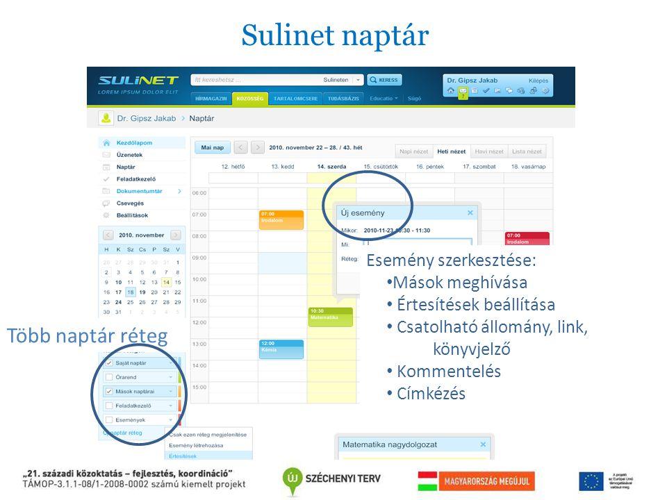 Sulinet naptár Több naptár réteg Esemény szerkesztése: Mások meghívása