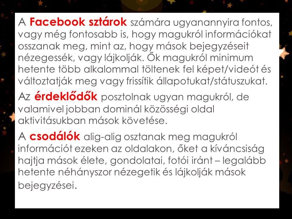 A Facebook sztárok számára ugyanannyira fontos, vagy még fontosabb is, hogy magukról információkat osszanak meg, mint az, hogy mások bejegyzéseit nézegessék, vagy lájkolják. Ők magukról minimum hetente több alkalommal töltenek fel képet/videót és változtatják meg vagy frissítik állapotukat/státuszukat.