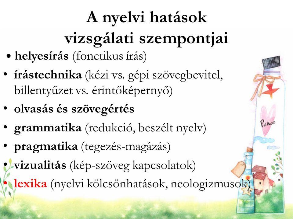 A nyelvi hatások vizsgálati szempontjai