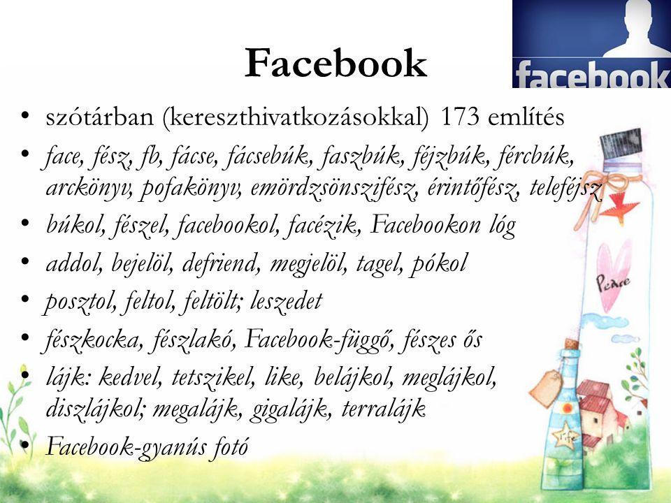 Facebook szótárban (kereszthivatkozásokkal) 173 említés