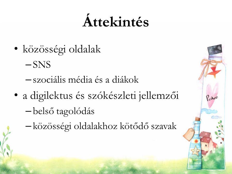 Áttekintés közösségi oldalak a digilektus és szókészleti jellemzői SNS