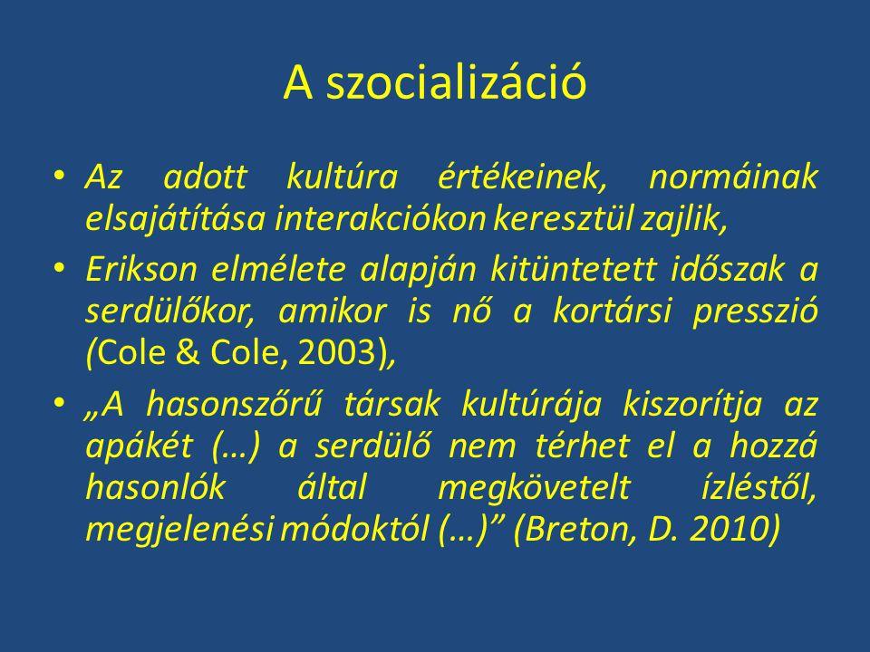 A szocializáció Az adott kultúra értékeinek, normáinak elsajátítása interakciókon keresztül zajlik,