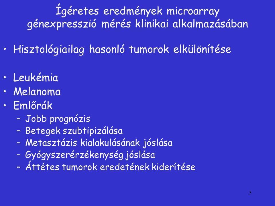 Hisztológiailag hasonló tumorok elkülönítése Leukémia Melanoma Emlőrák