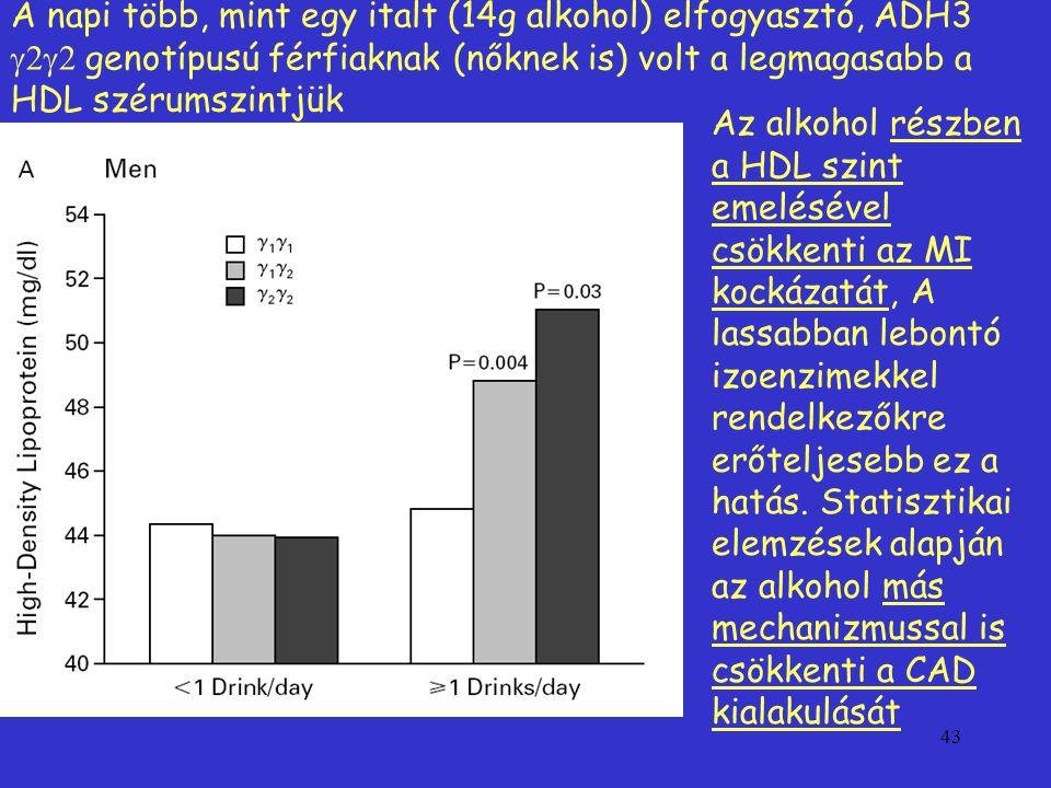 A napi több, mint egy italt (14g alkohol) elfogyasztó, ADH3 g2g2 genotípusú férfiaknak (nőknek is) volt a legmagasabb a HDL szérumszintjük