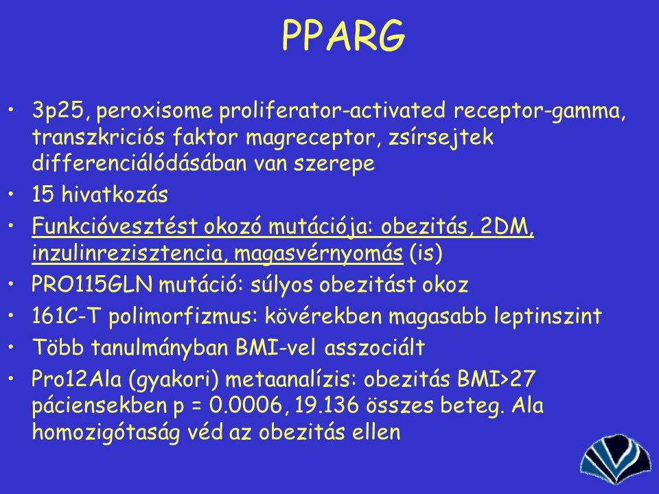 PPARG 3p25, peroxisome proliferator-activated receptor-gamma, transzkriciós faktor magreceptor, zsírsejtek differenciálódásában van szerepe.