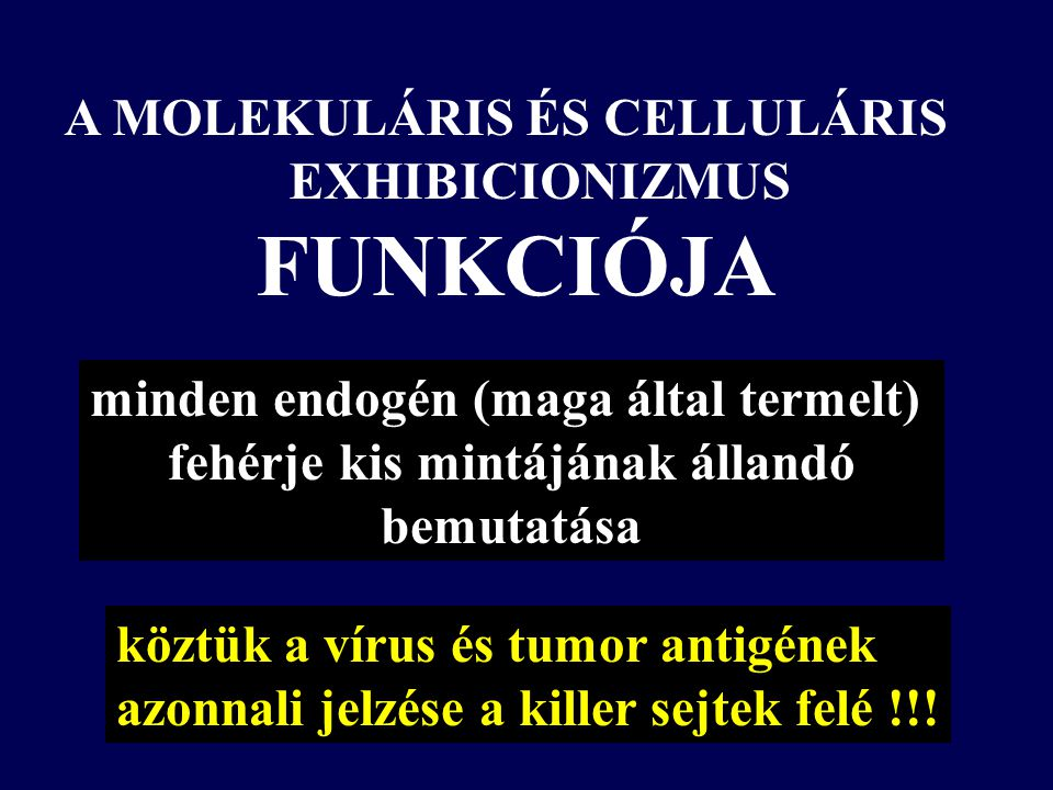 A MOLEKULÁRIS ÉS CELLULÁRIS EXHIBICIONIZMUS FUNKCIÓJA