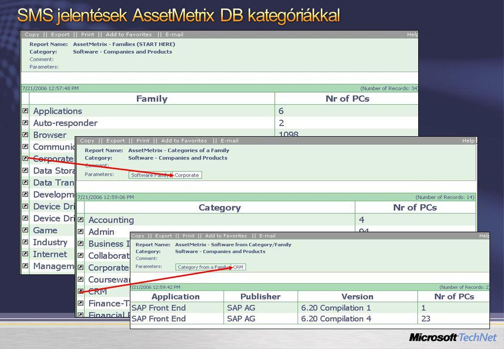 SMS jelentések AssetMetrix DB kategóriákkal