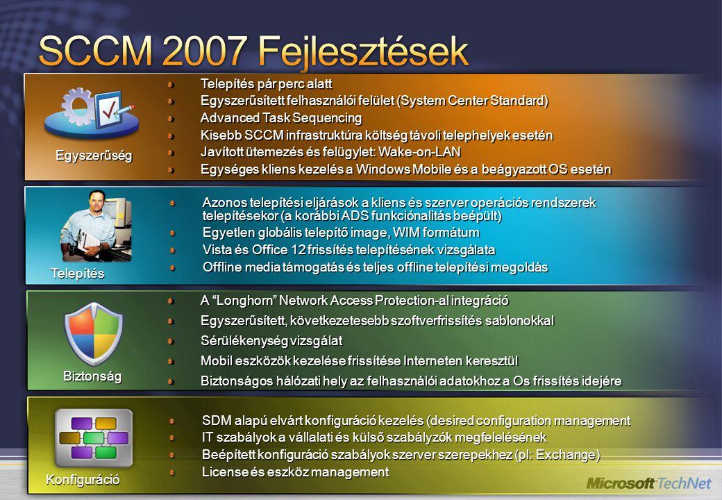 SCCM 2007 Fejlesztések Telepítés pár perc alatt