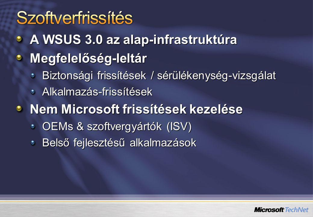 Szoftverfrissítés A WSUS 3.0 az alap-infrastruktúra