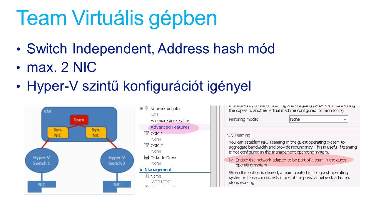 Team Virtuális gépben Switch Independent, Address hash mód max. 2 NIC