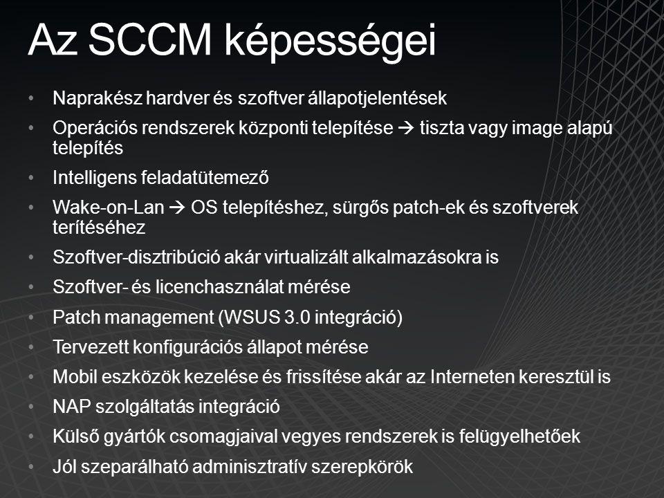 Az SCCM képességei Naprakész hardver és szoftver állapotjelentések