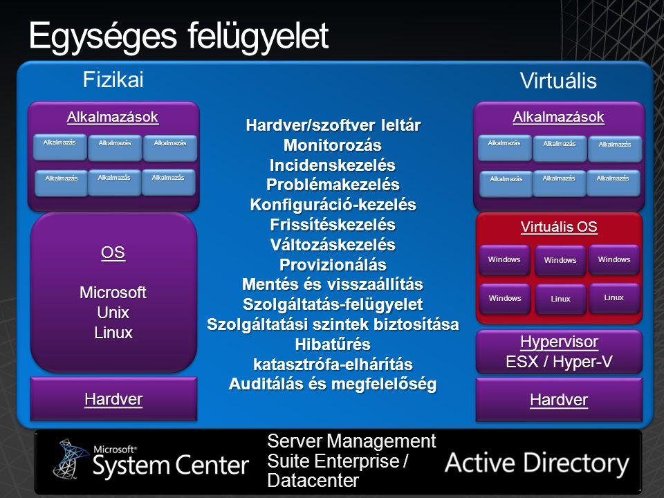 Egységes felügyelet Fizikai Virtuális