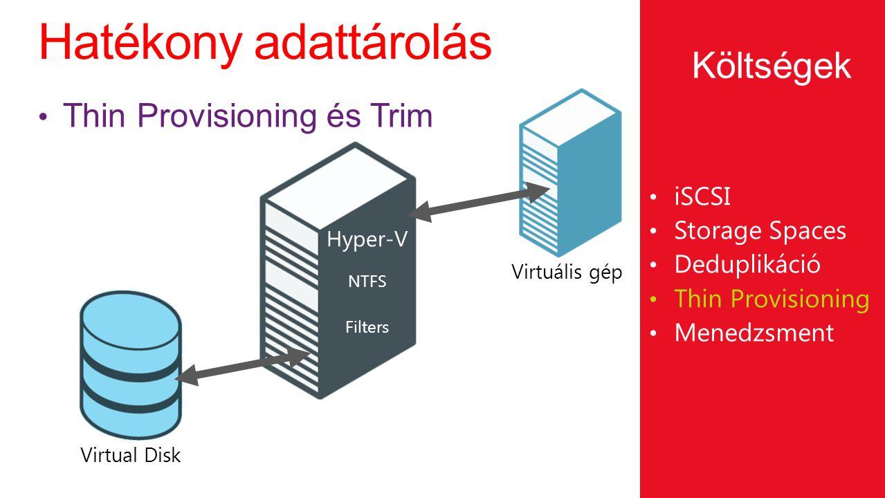 Hatékony adattárolás Költségek Thin Provisioning és Trim iSCSI
