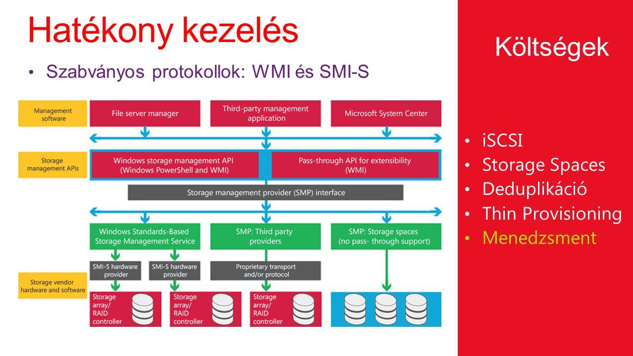 Hatékony kezelés Költségek Szabványos protokollok: WMI és SMI-S iSCSI