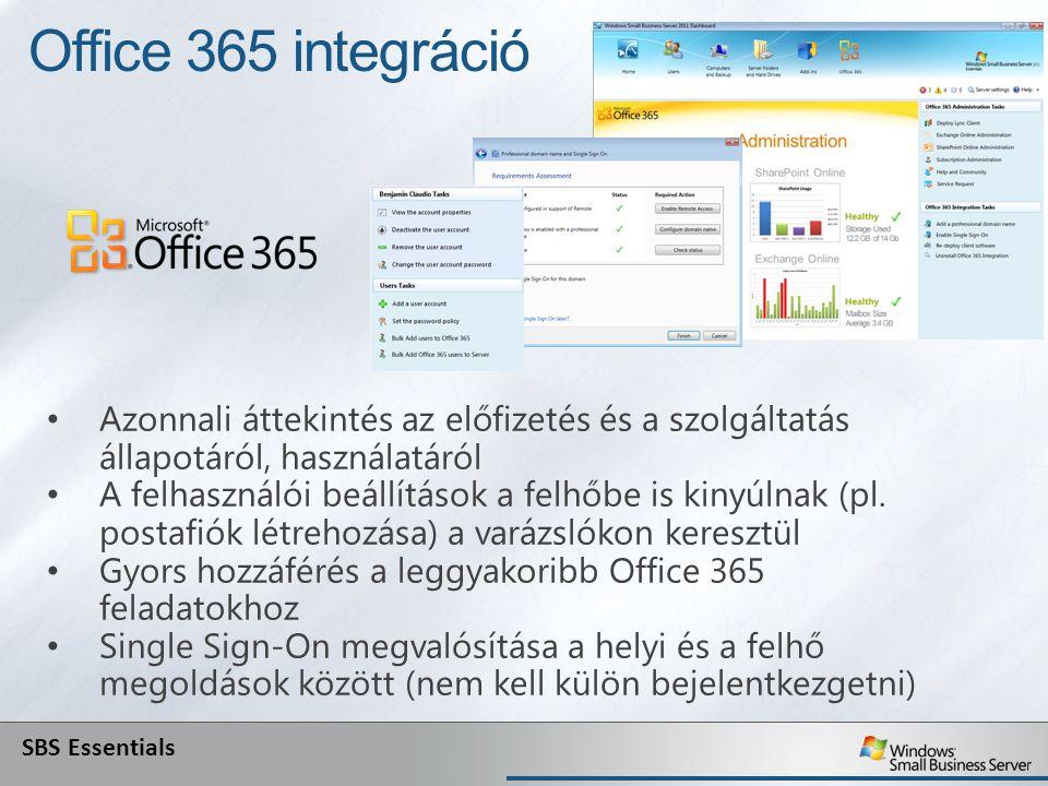 Office 365 integráció Azonnali áttekintés az előfizetés és a szolgáltatás állapotáról, használatáról.