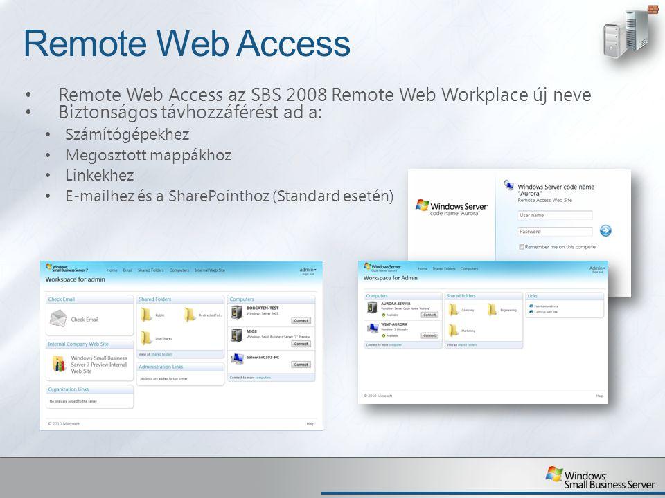 Remote Web Access Remote Web Access az SBS 2008 Remote Web Workplace új neve. Biztonságos távhozzáférést ad a: