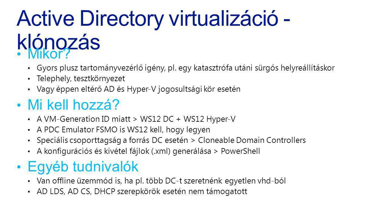 Active Directory virtualizáció - klónozás