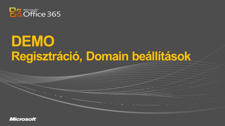 DEMO Regisztráció, Domain beállítások