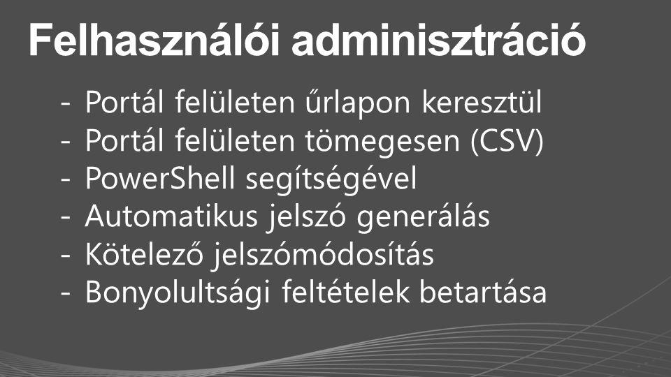 Felhasználói adminisztráció