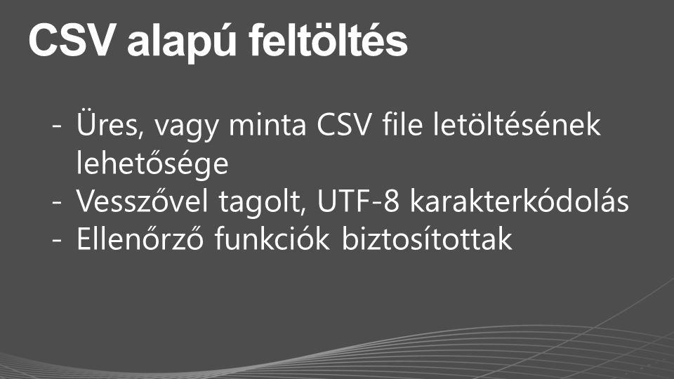CSV alapú feltöltés Üres, vagy minta CSV file letöltésének lehetősége