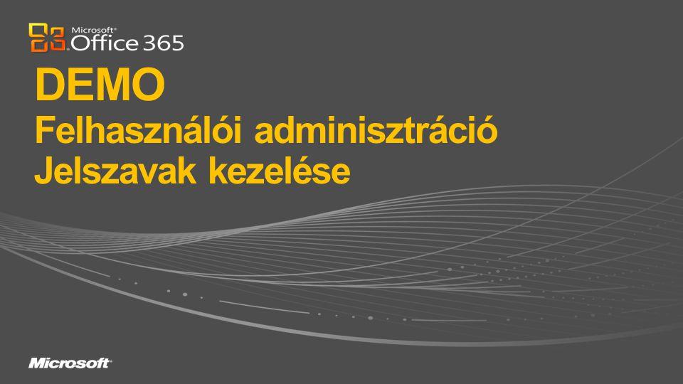 DEMO Felhasználói adminisztráció Jelszavak kezelése