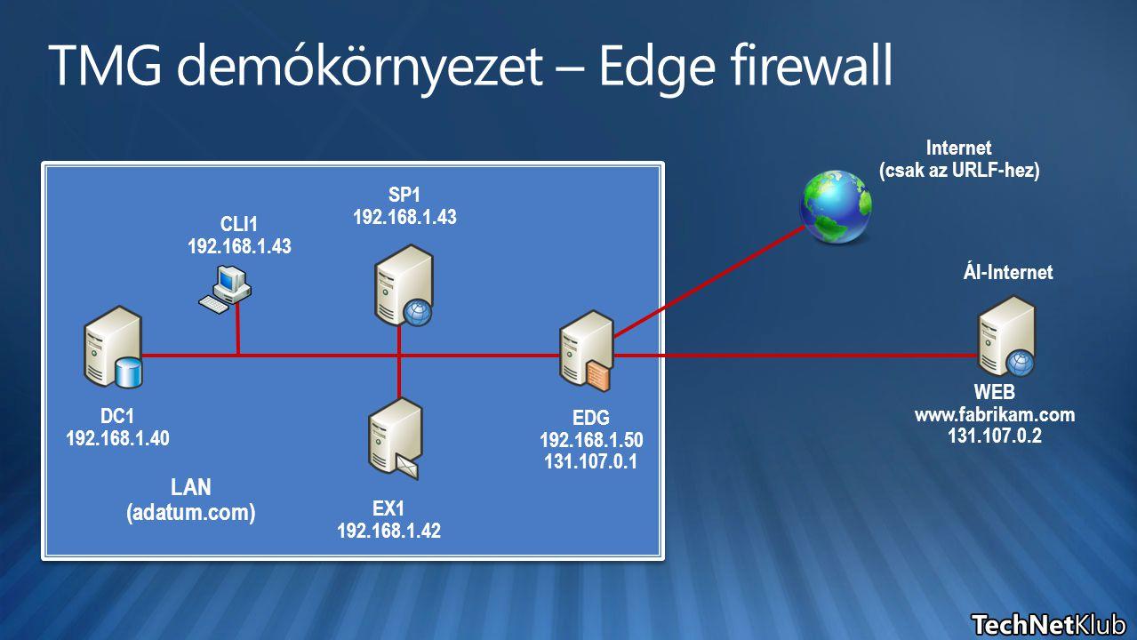 TMG demókörnyezet – Edge firewall