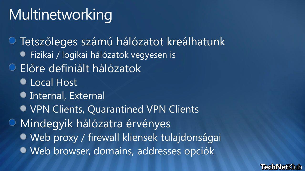 Multinetworking Tetszőleges számú hálózatot kreálhatunk