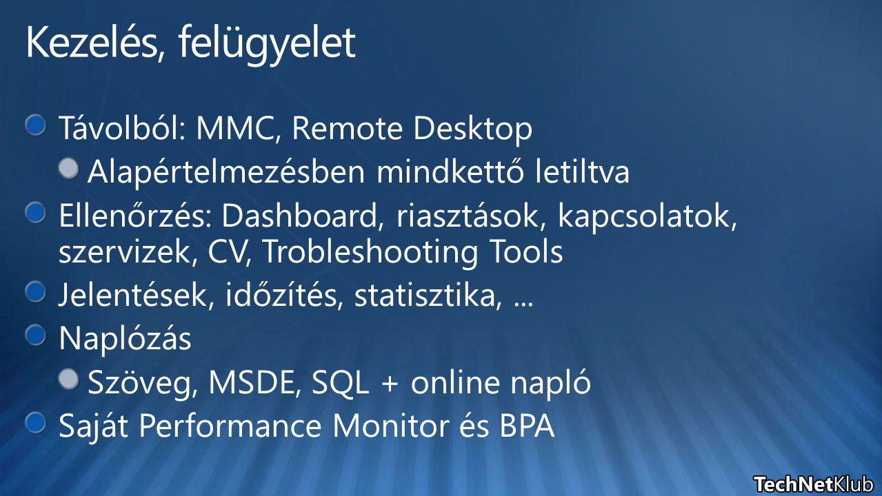 Kezelés, felügyelet Távolból: MMC, Remote Desktop
